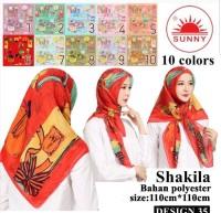 Jilbab Segi Empat Katun Motif Bunga - seri : SHAKILA - 35