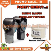 Paket Hemat Boxing Gloves Everlast Protex 2 + Handwrap Everlast 3M