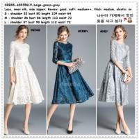 Midi Mini Dress Brukat Gaun Pesta Wanita Korea Import AB935619 White