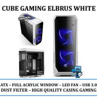Casing PC CPU CUBE GAMING ELBRUS White - Acrylic Window / LED Fan