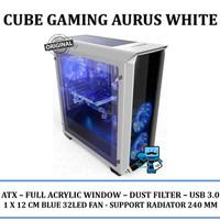 Casing PC CPU CUBE GAMING AURUS White - Acrylic Window / Red 32Dot Fan