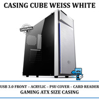Casing PC CPU CUBE GAMING WEISS White - Acrylic Win / USB3/ CardReader