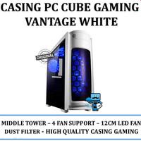 Casing PC CPU CUBE GAMING VANTAGE WHITE - Acrylic Window / LED FAN