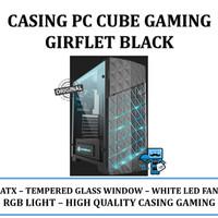 Casing PC CPU Cube Gaming Girflet Black - Tempered Glass Window - RGB