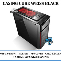 Casing PC CPU CUBE GAMING WEISS BLACK - Acrylic Win / USB3/ CardReader