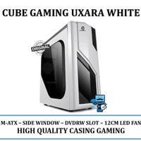 Casing PC CPU CUBE GAMING UXARA White - 1 x 12CM LED FAN + USB 3.0
