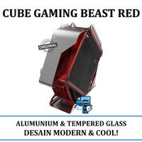 Casing PC CPU Gaming Cube Beast Red - Aluminium + 2 Tempered Glass