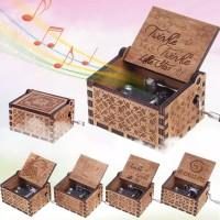 Kotak Musik Vintage Wooden Music Box Beauty & The Beast Twinkle Star