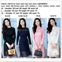 Mini Dress Brukat Gaun Pesta Korea Import AB233132 Putih Hitam Pink