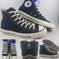 Sepatu Kets Converse Allstar 70s Canvas High Black White Hitam Putih