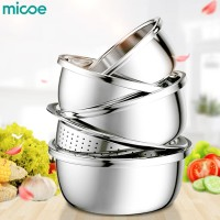 MICOE baskom / mangkuk dapur 1 set isi 5 dari stainless steel super