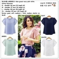 Baju Atasan Blouse Korea Import AB535211 Putih White Pink Blue Green
