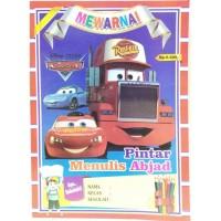Buku Edukasi Mewarnai Pintar Menulis Abjad Cars Anak Laki-Laki
