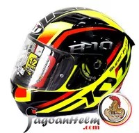 KYT Helm R10 FLAT VISOR CLEAR   SF RED FL YELLOW FLUO   PINs READY
