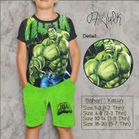Baju Kaos Anak Laki-Laki/Setelan Anak 2-7 thn - Superhero Hulk Hijau