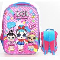 Tas Ransel Sekolah Anak SD LOL Surprise 3D Timbul Hard Cover PINK