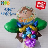 Parcel Balon Table Bunga Bouquet / Buket Get Well Soon