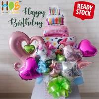 Parcel Balon Table Bunga Bouquet / Buket Happy Birthday Pink