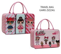 Tas JINJING Travel Bag Anak LOL Surprise Bahan Kanvas - Pink