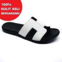 Sandal Wanita Asli Kulit Sapi Model Teplek Flat Putih TR261