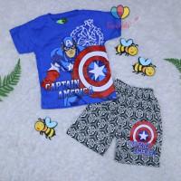 Setelan Pendek Superhero Uk 1-2 Tahun / Kaos Anak Laki Cowok Baju Adem
