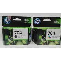 Tinta Printer HP 704 Black & Colour Ink Cartridge Original 1set Hitam