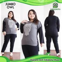Jumbo Blooming Owl Baju Atasan Wanita Bigsize Oversized Big