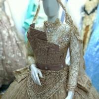 gaun pengantin modern kipas wedding dress
