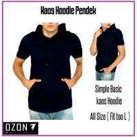 kaos hoodie kupluk kantong polos premium Hitam