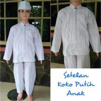 Baju koko anak katun putih setelan size 5,6,7