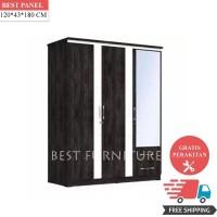 Best SW018 Lemari Pakaian Minimalis 3Pintu - Dark Oak