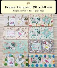 Frame Polaroid 20x40cm / Bingkai foto pop up gantung jepit kayu kanvas