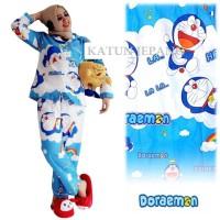 MichelleStore Piyama PP Dewasa Doraemon Awan Katun Jepang - Fit XL