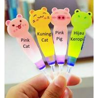 Earpick Cartoon LED Cute Animal Korek Kuping Telinga Karakter Lampu L