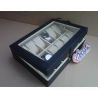 akaz organizer ELEGAN BLACK INNER CREAM WATCH BOX ORGANIZER ISI 12 PCS
