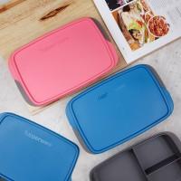 TUPPERWARE Cool Teen Lunch Box/Kotak Bekal Sekat Tiga Badan Hitam