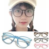Frame Kacamata Retro Bulat Ouval Pria Wanita Ganti Lensa antiRadiasi M