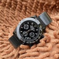 Jam Rolex tali pasir hitam - chrono aktif.