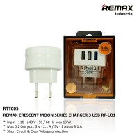 Remax Travel Charger Crescent Moon series 3 USB / RP-U31