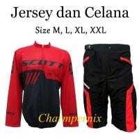 Jersey Sepeda XC Scott plus Celana sepeda Padding
