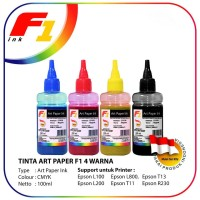 SET TINTA ART PAPER F1 INK FOR PRINTER EPSON CMYK 100ML LEBIH HEMAT