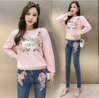 LOVE YOU longsleeve peach [Baju Atasan Wanita 0106] SBK