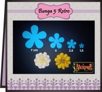 BUNGA 5 RETRO / Bahan Scrapbook Bunga Kertas Paper Flower
