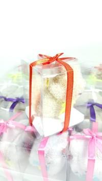 souvenir pernikahan handuk kecil bentuk kelinci kemasan mika cantik