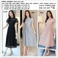 Long Dress Midi Brukat Gaun Pesta Korea Import AB635861 Black Pink