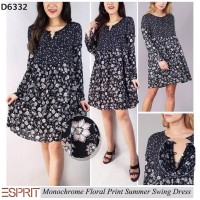 F SISA EXPORT ESPRIT MONOCHROME FLORAL SWING DRESS
