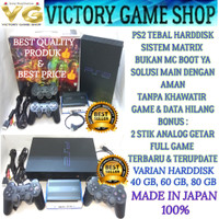 PS2 PS 2 FAT SONY PLAYSTATION 2 + HARDDISK HDD + 2 STIK ANALOG KOMPLIT