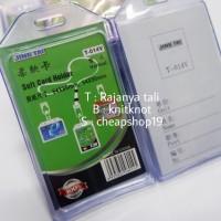 frame name tag karet card case silicone 1 sisi transparan berdiri