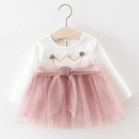 dress tutu bayi lengan panjang / gaun bayi motif mahkota crown