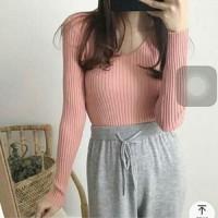 Vneck Rajut Lengan Panjang Pink [Baju Atasan Wanita 0133] SBR